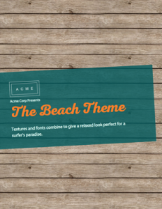 free ebook template with a beach theme