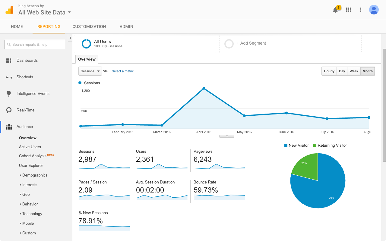 Our Google Analytics show that we had no idea how to grow a blog.