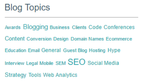 A screenshot of the tagging system on Barry's website