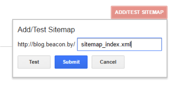Submitting the Beacon sitemap in Google Search Console