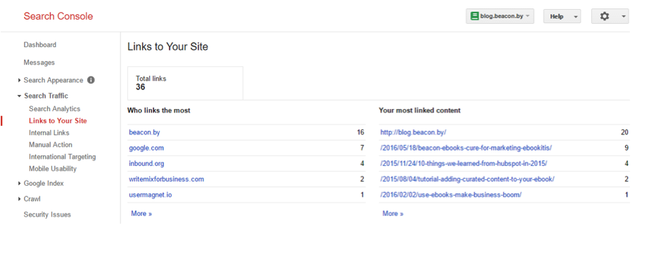 Screenshot of incoming links to the Beacon blog.