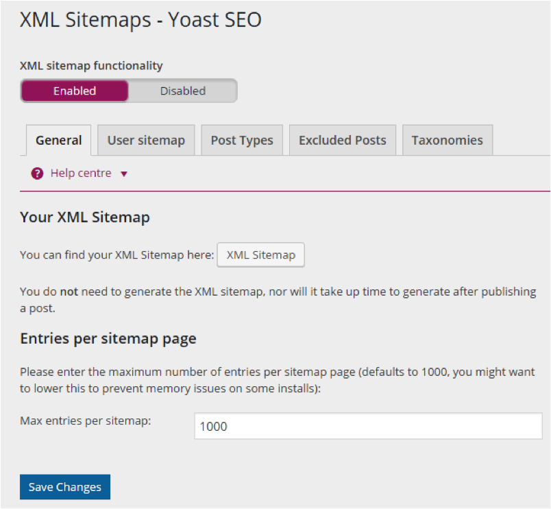 Generating an XML sitemap with the Yoast plugin