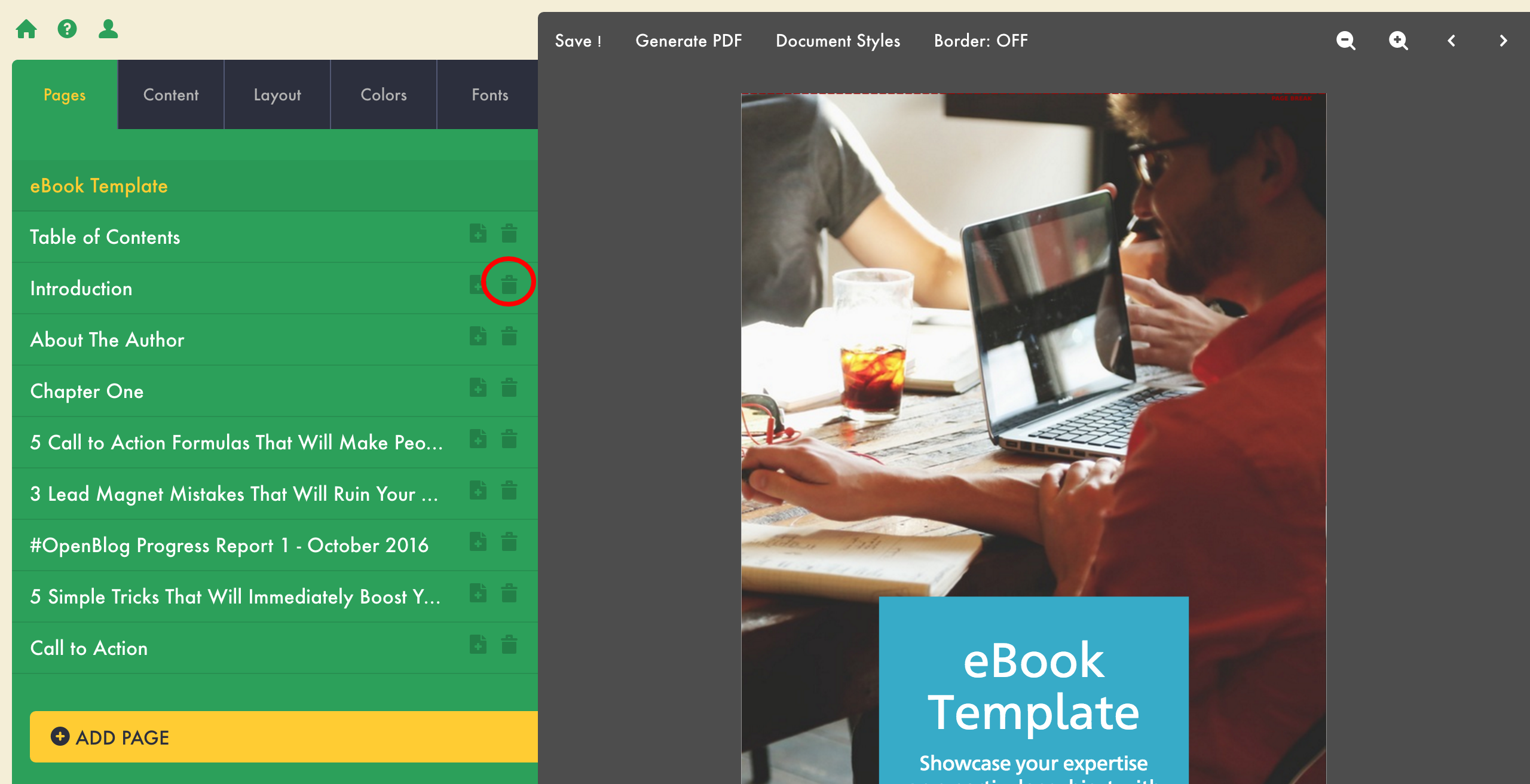 how to create an ebook lead magnet delete a page