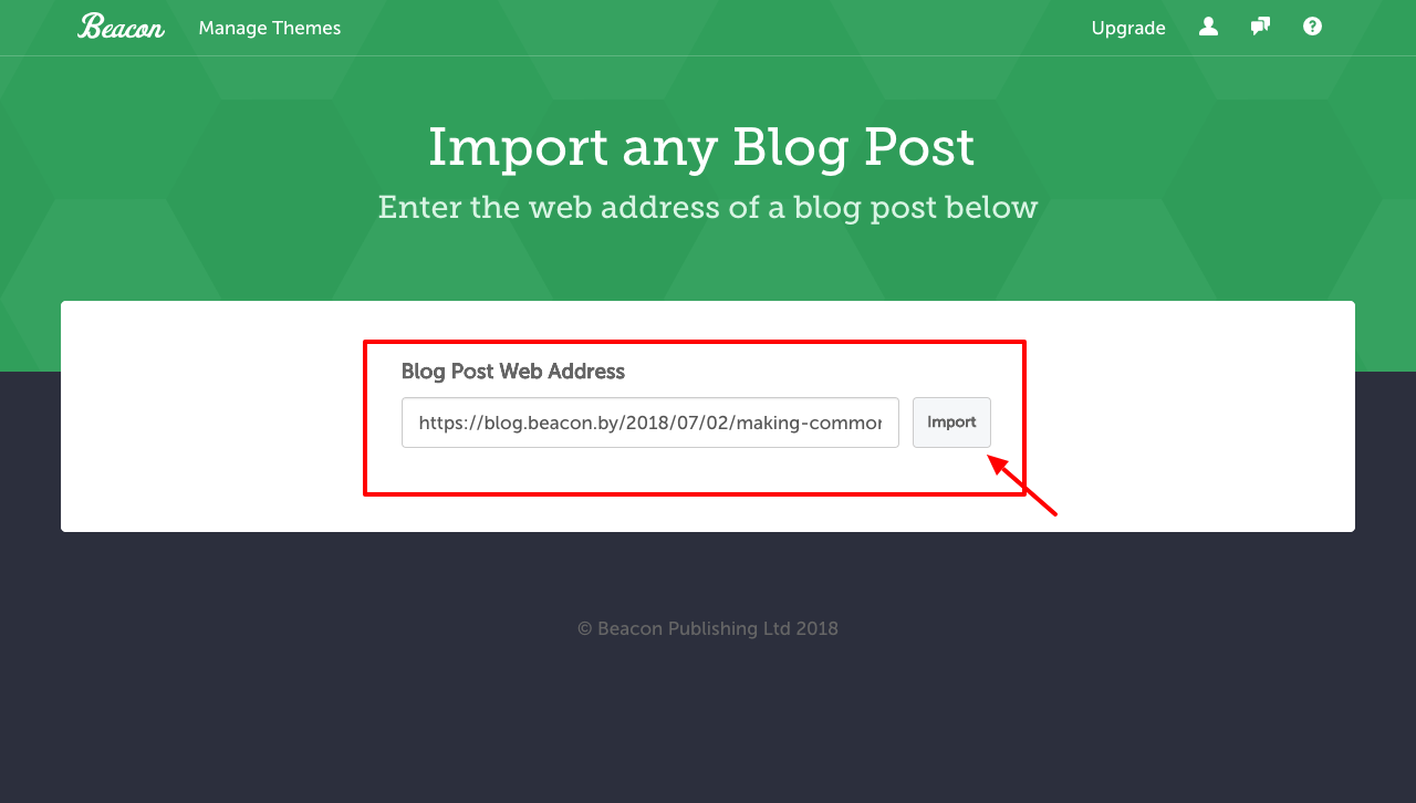 enter the url of your blog post