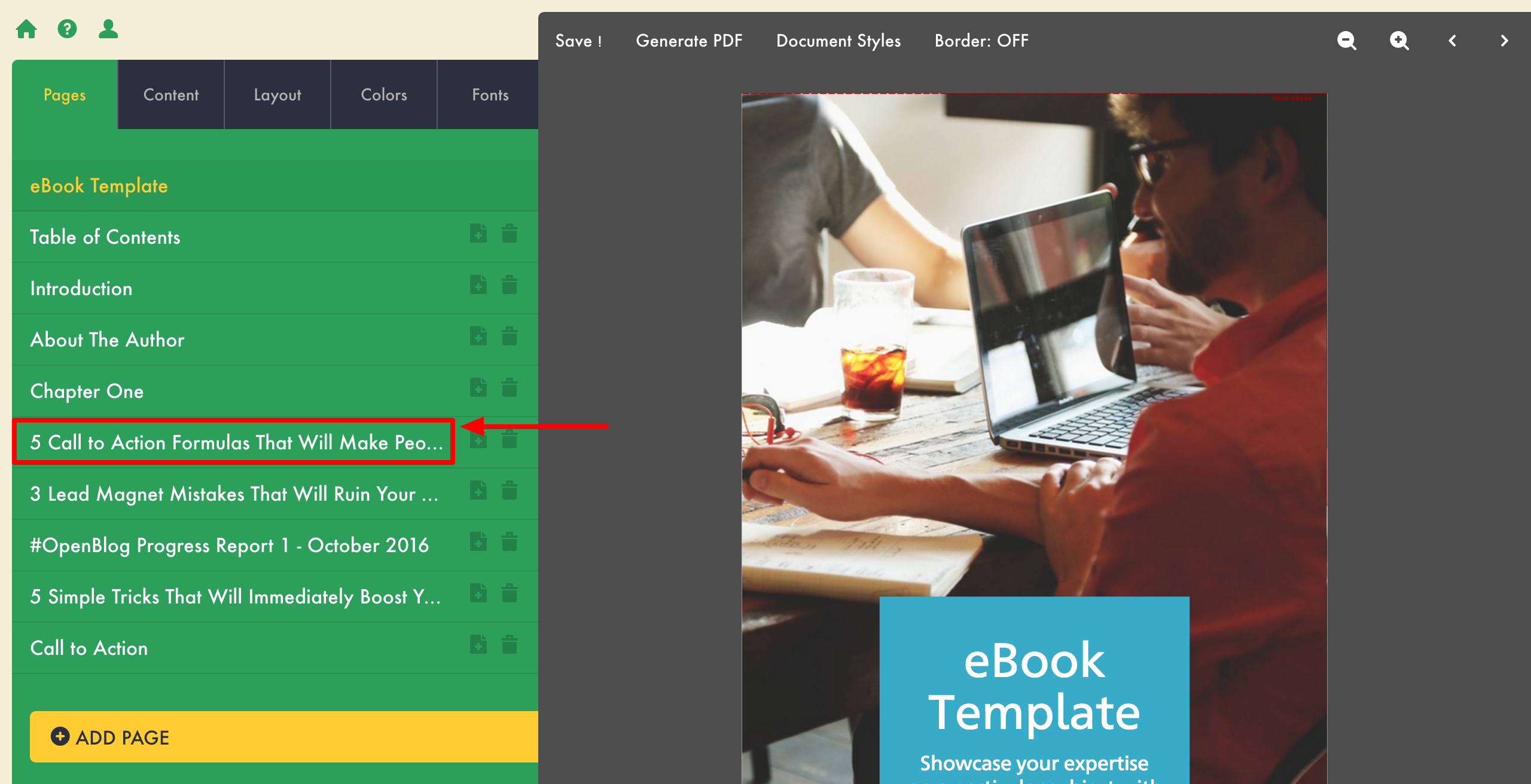 how to create an ebook lead magnet edit imported content
