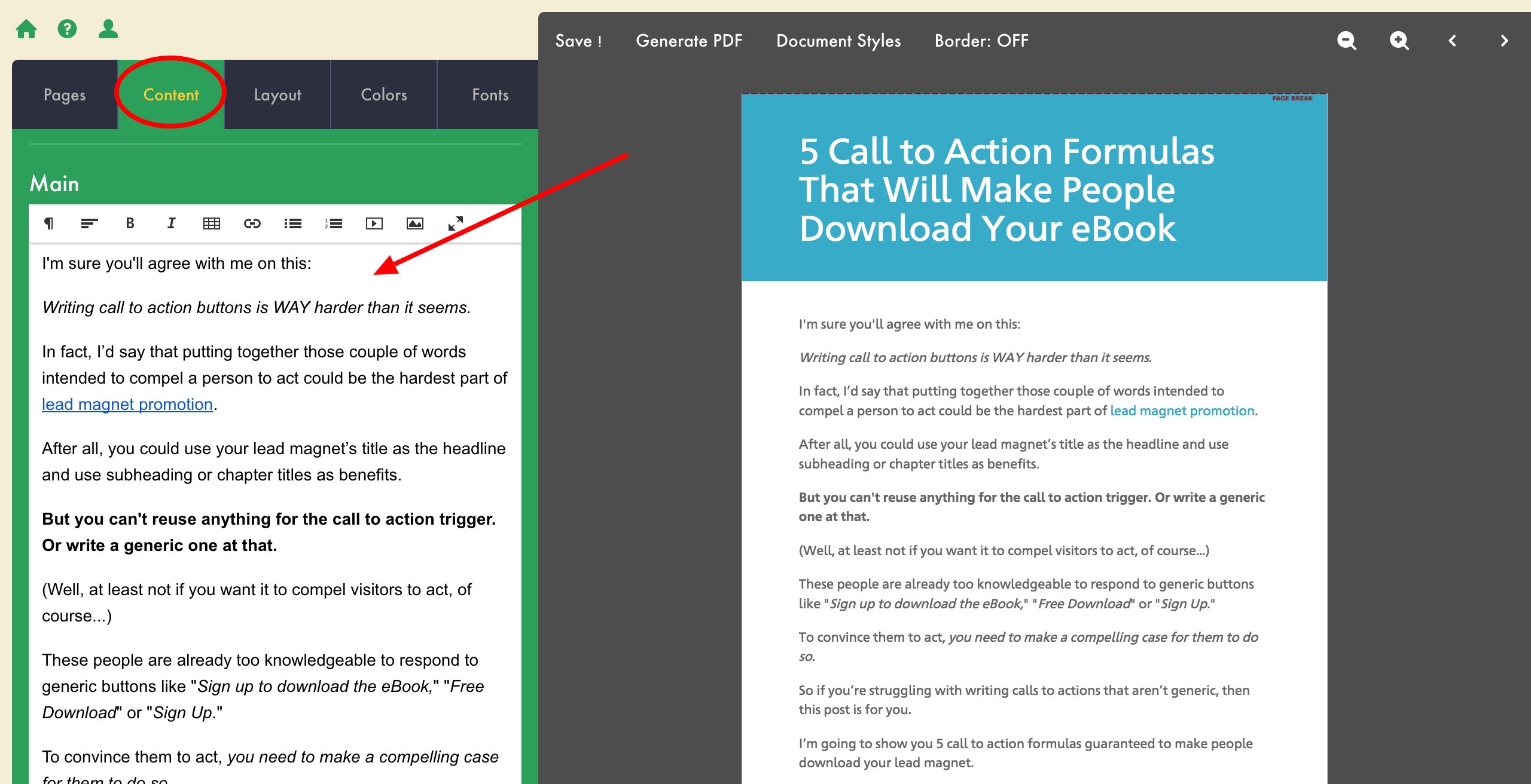 how to create an ebook lead magnet change text