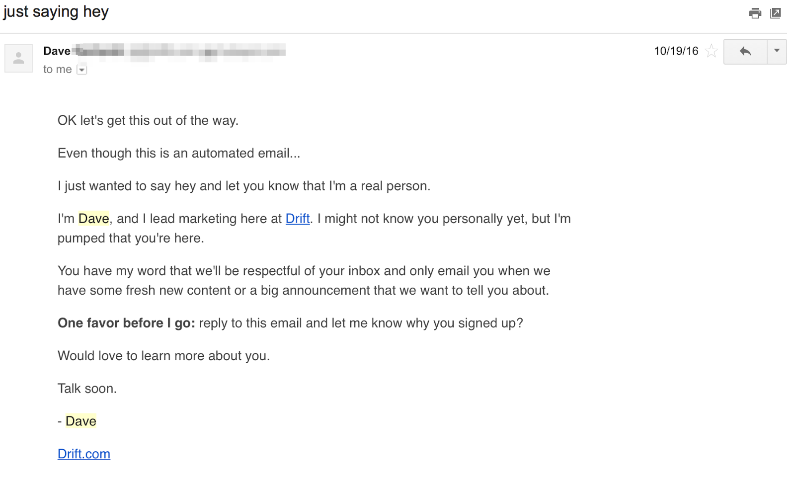 Welcome email example Drift