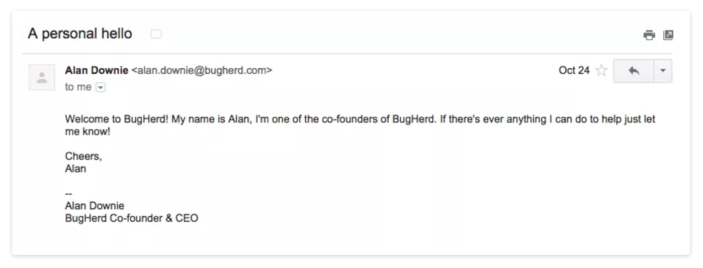 welcome email example 1