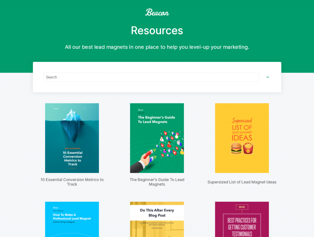 Screenshot of Beacon resource library.